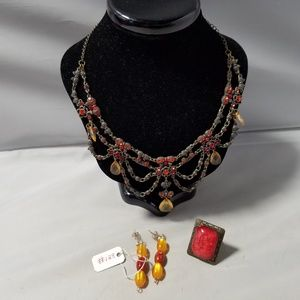 Jewelry - Victorian Coral Stone Choker Necklace Ring Earring